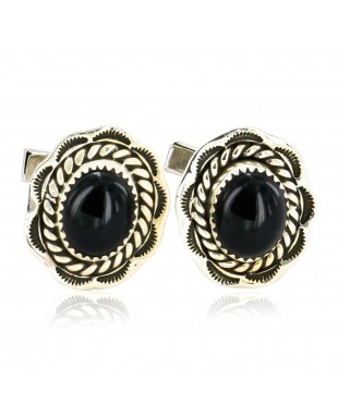Handmade Certified Authentic Navajo .925 Sterling Silver Natural Black Onyx Native American Cuff Links 19110-4