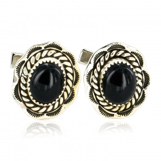 Handmade Certified Authentic Navajo .925 Sterling Silver Natural Black Onyx Native American Cuff Links 19110-4 Cufflinks 19110-4 19110-4 (by LomaSiiva)