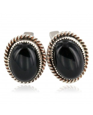 Handmade Certified Authentic Navajo .925 Sterling Silver Natural Black Onyx Native American Cuff Links 19128-2