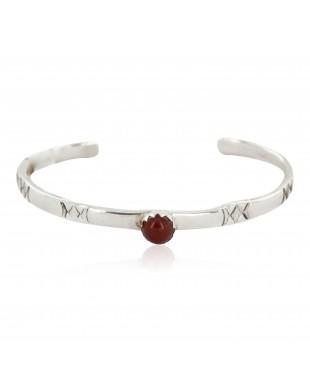 Handmade Certified Authentic Navajo .925 Sterling Silver Natural Carnelian Baby Native American Bracelet 12853-3