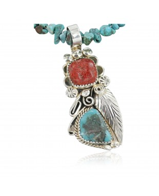 Handmade Certified Authentic Navajo .925 Sterling Silver Natural Coral and Turquoise Native American Necklace 370917029358