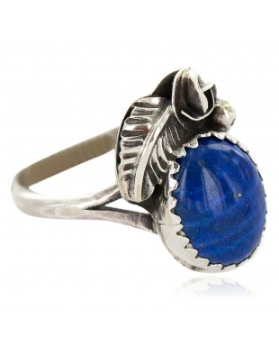 Handmade Certified Authentic Navajo .925 Sterling Silver Natural Lapis Lazuli Native American Ring  26212-1