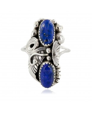 Handmade Certified Authentic Navajo .925 Sterling Silver Natural Lapis Lazuli Native American Ring Size 10 1/2 26206-32