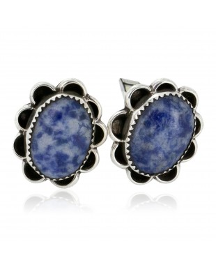 Handmade Certified Authentic Navajo .925 Sterling Silver Natural Lapis Native American Cuff Links 19126