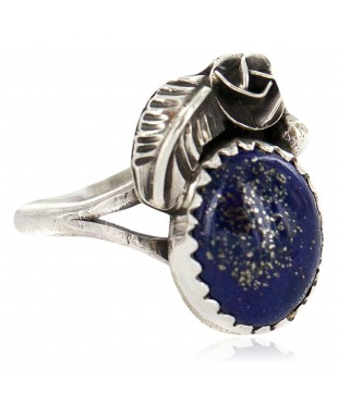 Handmade Certified Authentic Navajo .925 Sterling Silver Natural Lapis Native American Ring  26212-2