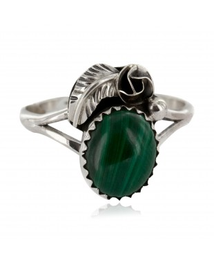 Handmade Certified Authentic Navajo .925 Sterling Silver Natural Malachite Native American Ring Size 7 26203-32
