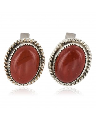 Handmade Certified Authentic Navajo .925 Sterling Silver Natural Red Jasper Native American Cuff Links 19128-1