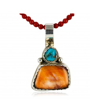 Handmade Certified Authentic Navajo .925 Sterling Silver Natural Spiny Oyster And Turquoise Native American Necklace 15908