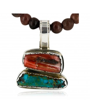 Handmade Certified Authentic Navajo .925 Sterling Silver Natural Spiny Oyster And Turquoise Native American Necklace 15926
