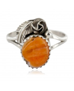 Handmade Certified Authentic Navajo .925 Sterling Silver Natural Spiny Oyster Native American Ring Size 6 26204-41