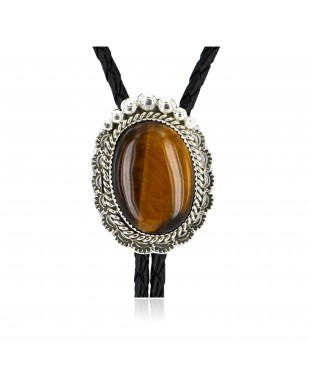 Handmade Certified Authentic Navajo .925 Sterling Silver Natural Tigers Eye Native American Bolo Tie  24407-1