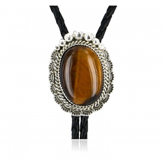Handmade Certified Authentic Navajo .925 Sterling Silver Natural Tigers Eye Native American Bolo Tie  24407-1 All Products NB24407-1 24407-1 (by LomaSiiva)