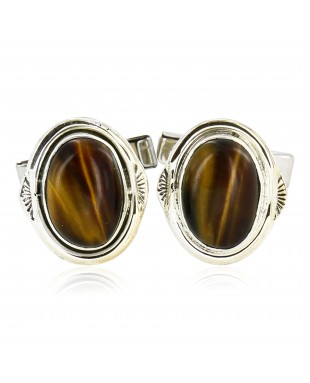 Handmade Certified Authentic Navajo .925 Sterling Silver Natural Tigers Eye Native American Cuff Links 19109-2
