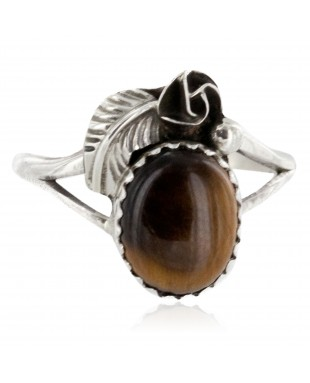 Handmade Certified Authentic Navajo .925 Sterling Silver Natural Tigers Eye Native American Ring Size 7 1/2 26203-12