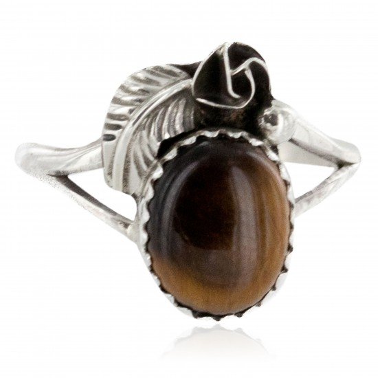 Handmade Certified Authentic Navajo .925 Sterling Silver Natural Tigers Eye Native American Ring Size 7 26203-1 All Products NB151223231557-1 26203-1 (by LomaSiiva)