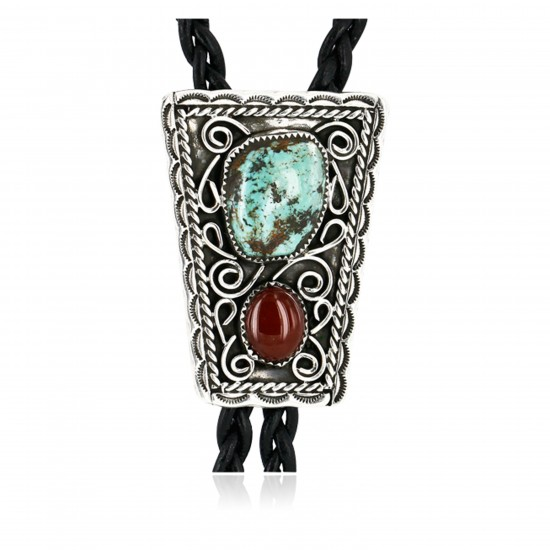 Handmade Certified Authentic Navajo .925 Sterling Silver Natural Turquoise Agate Native American Bolo Tie  24390-1 All Products 371442902671 24390-1 (by LomaSiiva)