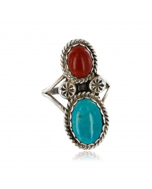 Handmade Certified Authentic Navajo .925 Sterling Silver Natural Turquoise and Red Jasper Native American Ring  390845614761