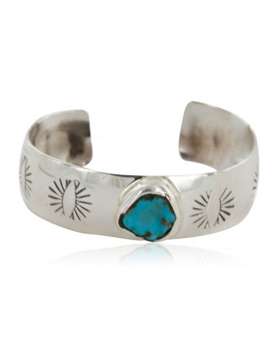 Handmade Certified Authentic Navajo .925 Sterling Silver Natural Turquoise Baby Native American Bracelet 1 12483-1