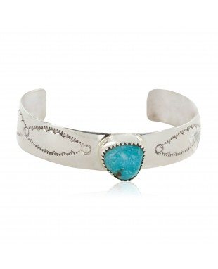 Handmade Certified Authentic Navajo .925 Sterling Silver Natural Turquoise Baby Native American Bracelet 12483-2