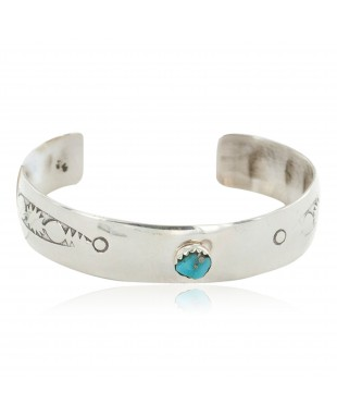 Handmade Certified Authentic Navajo .925 Sterling Silver Natural Turquoise Baby Native American Bracelet 12852-1
