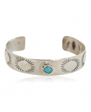 Handmade Certified Authentic Navajo .925 Sterling Silver Natural Turquoise Baby Native American Bracelet 12852-2