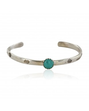 Handmade Certified Authentic Navajo .925 Sterling Silver Natural Turquoise Baby Native American Bracelet 12853-4