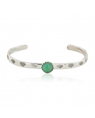 Handmade Certified Authentic Navajo .925 Sterling Silver Natural Turquoise Baby Native American Bracelet 12853-7