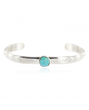 Handmade Certified Authentic Navajo .925 Sterling Silver Natural Turquoise Baby Native American Bracelet 13012-1