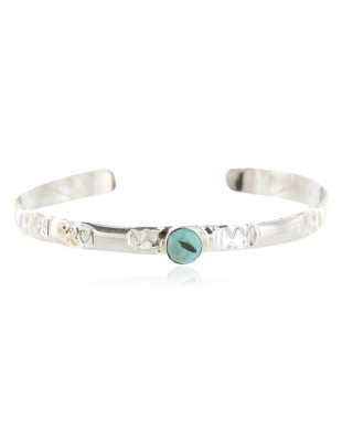 Handmade Certified Authentic Navajo .925 Sterling Silver Natural Turquoise Baby Native American Bracelet 13012-2