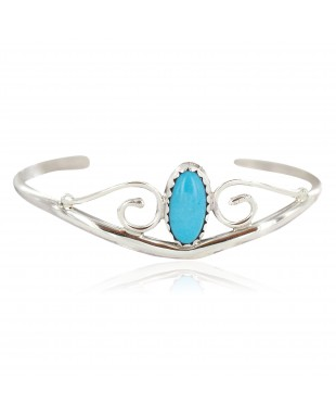 Handmade Certified Authentic Navajo .925 Sterling Silver Natural Turquoise Native American Baby Bracelet  13186-1