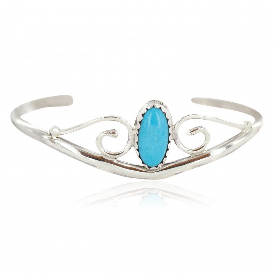 Handmade Certified Authentic Navajo .925 Sterling Silver Natural Turquoise Native American Baby Bracelet  13186-1 All Products NB160602222352 13186-1 (by LomaSiiva)