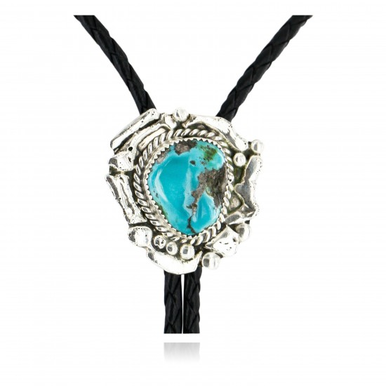 Handmade Certified Authentic Navajo .925 Sterling Silver Natural Turquoise Native American Bolo Tie  24406-1 All Products 24406-1 24406-1 (by LomaSiiva)
