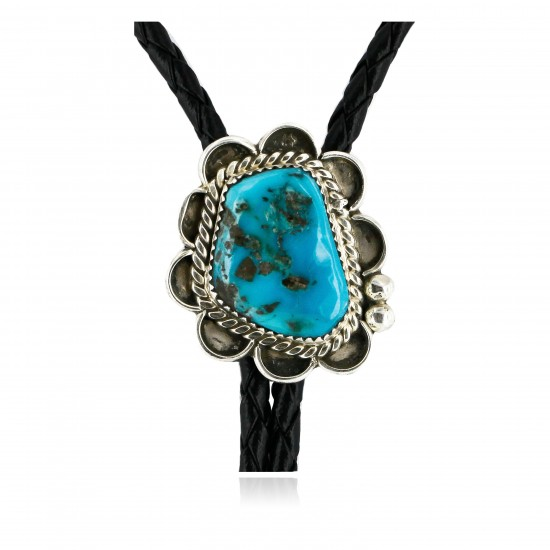 Handmade Certified Authentic Navajo .925 Sterling Silver Natural Turquoise Native American Bolo Tie  24406-4 All Products 24406-4 24406-4 (by LomaSiiva)