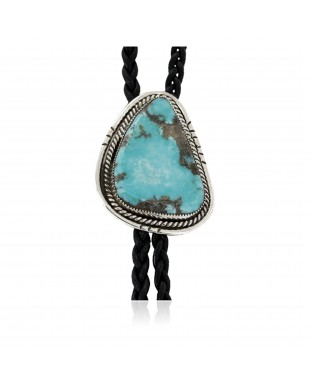 Handmade Certified Authentic Navajo .925 Sterling Silver Natural Turquoise Native American Bolo Tie 24479-1