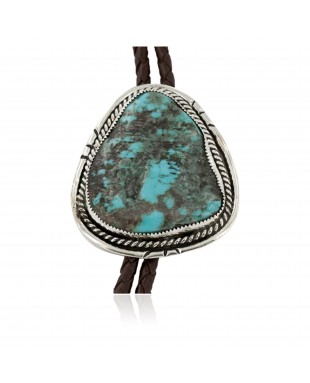 Handmade Certified Authentic Navajo .925 Sterling Silver Natural Turquoise Native American Bolo Tie 24479-2