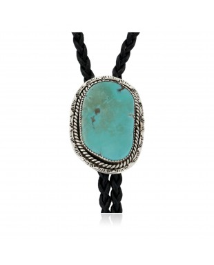 Handmade Certified Authentic Navajo .925 Sterling Silver Natural Turquoise Native American Bolo Tie 24481