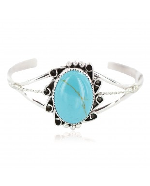 Handmade Certified Authentic Navajo .925 Sterling Silver Natural Turquoise Native American Bracelet 18199