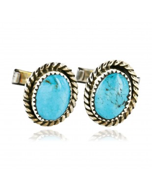 Handmade Certified Authentic Navajo .925 Sterling Silver Natural Turquoise Native American Cuff Links 19109-1