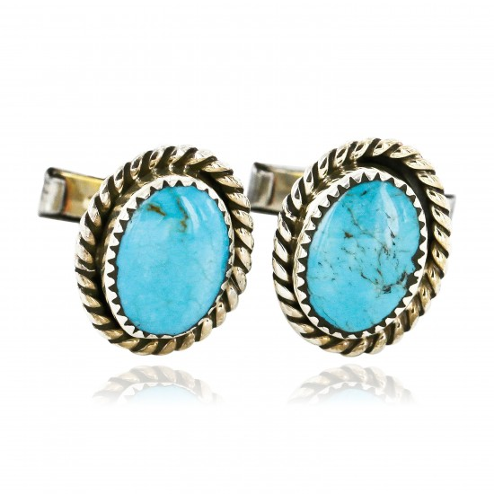 Handmade Certified Authentic Navajo .925 Sterling Silver Natural Turquoise Native American Cuff Links 19109-1 Cufflinks 391265154818 19109-1 (by LomaSiiva)