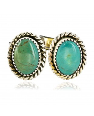 Handmade Certified Authentic Navajo .925 Sterling Silver Natural Turquoise Native American Cuff Links 19109-3