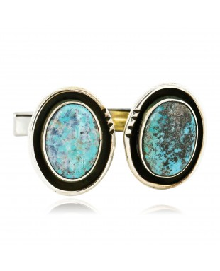 Handmade Certified Authentic Navajo .925 Sterling Silver Natural Turquoise Native American Cuff Links 19110-2