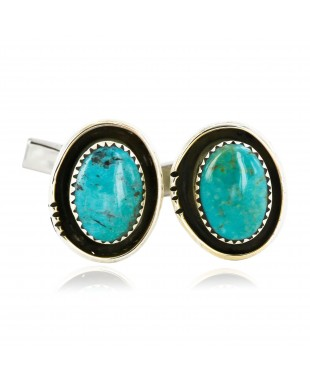 Handmade Certified Authentic Navajo .925 Sterling Silver Natural Turquoise Native American Cuff Links 19110-3