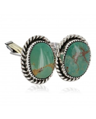 Handmade Certified Authentic Navajo .925 Sterling Silver Natural Turquoise Native American Cuff Links 19123