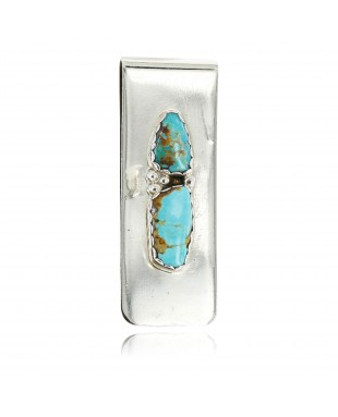 Handmade Certified Authentic Navajo .925 Sterling Silver Natural Turquoise Native American Money Clip 11244-6