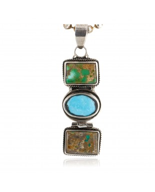 Handmade Certified Authentic Navajo .925 Sterling Silver Natural Turquoise Native American Necklace 24119