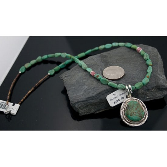Handmade Certified Authentic Navajo .925 Sterling Silver Natural Turquoise Native American Necklace & Pendant 390643684539 All Products 14863-5-15851 390643684539 (by LomaSiiva)