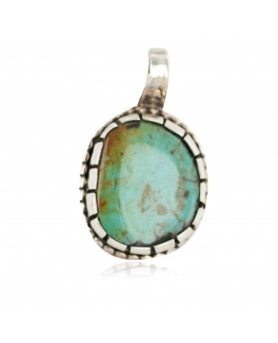 Handmade Certified Authentic Navajo .925 Sterling Silver Natural Turquoise Native American Pendant 13168