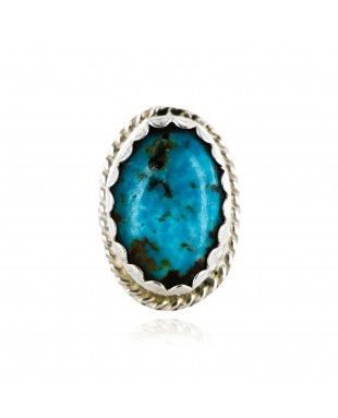 Handmade Certified Authentic Navajo .925 Sterling Silver Natural Turquoise Native American Ring  16934