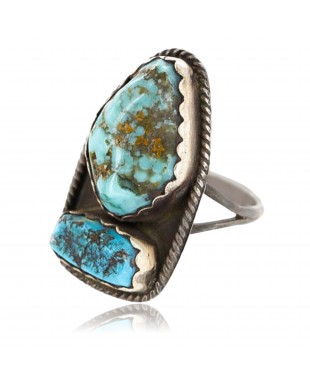 Handmade Certified Authentic Navajo .925 Sterling Silver Natural Turquoise Native American Ring  390803833082