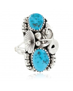Handmade Certified Authentic Navajo .925 Sterling Silver Natural Turquoise Native American Ring Size 7 26208-3